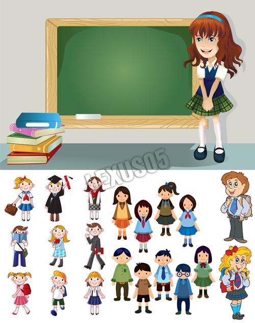 Cartoon-school-children
