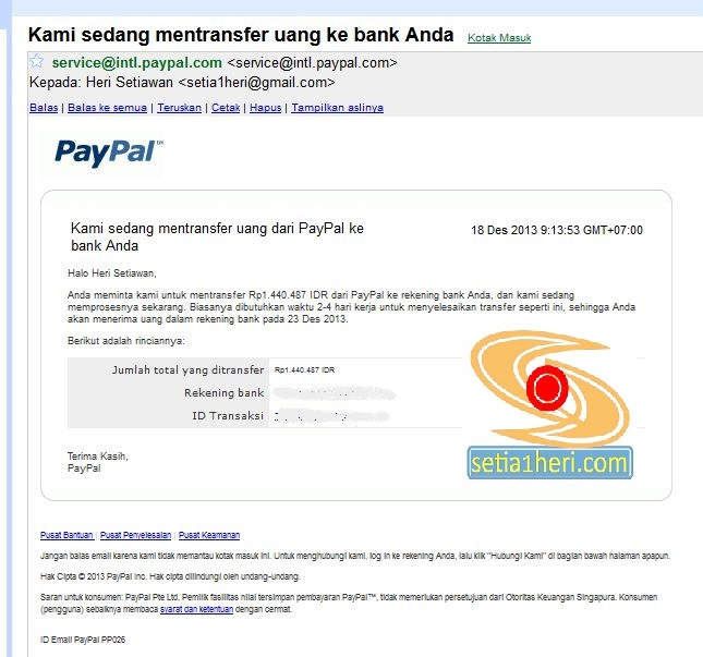 notifikasi imel terkait penarikan dana dari paypal