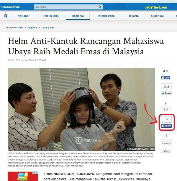 berita helm anti kantuk mahasiswa ubaya 2014