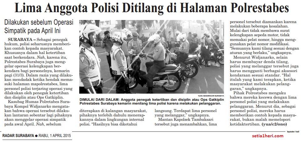 5 polisi kena tilang sendiri oleh anggota satlantas surabaya