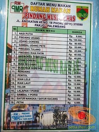 daftar harga menu di RM Pindang Musi Rawas Palembang