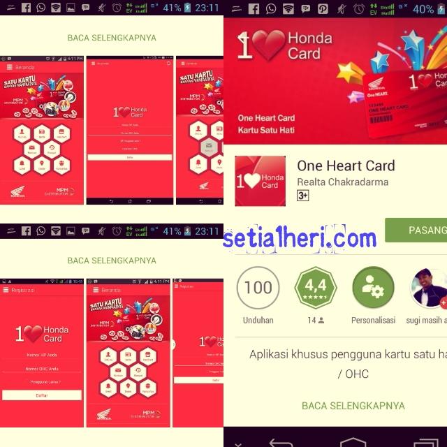 aplikasi One Heart Card di smarphone android tahun 2015