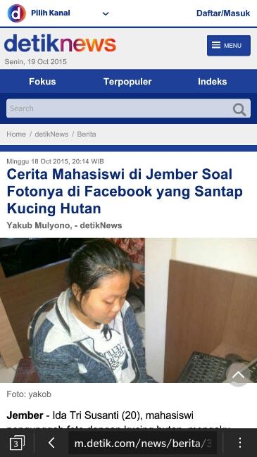 Ida Tri Susanti narsis bersama Kucing Hutan Ditangkap polres jember