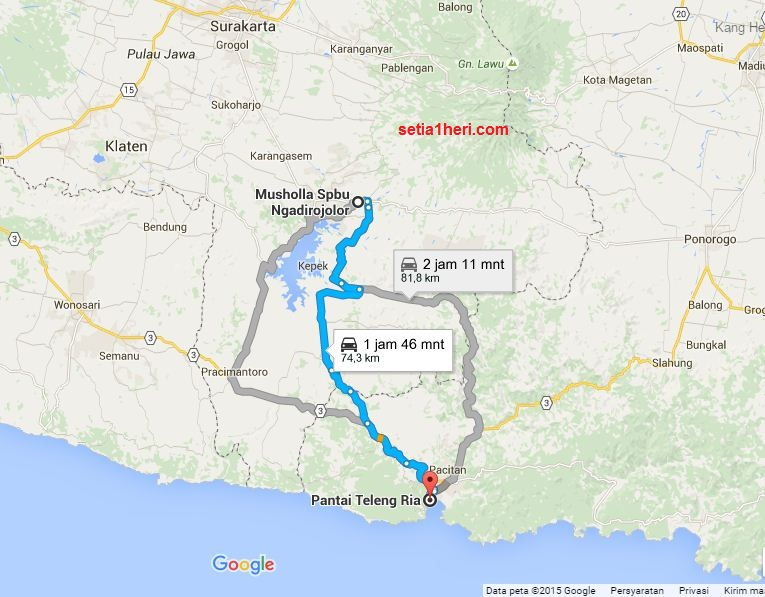 Jalur Ngadirojo, Wonogiri, Jawa Tengah-Teleng Ria, Pacitan, Jawa Timur