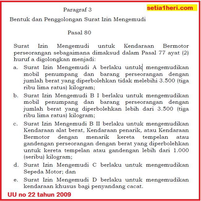 pasal penggolongan SIM di UU no 22 tahun 2009