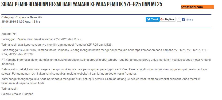 surat pemberitahuan recall yamaha mt 25 dan r25 di Indonesia tanggal 15 Juni 2016