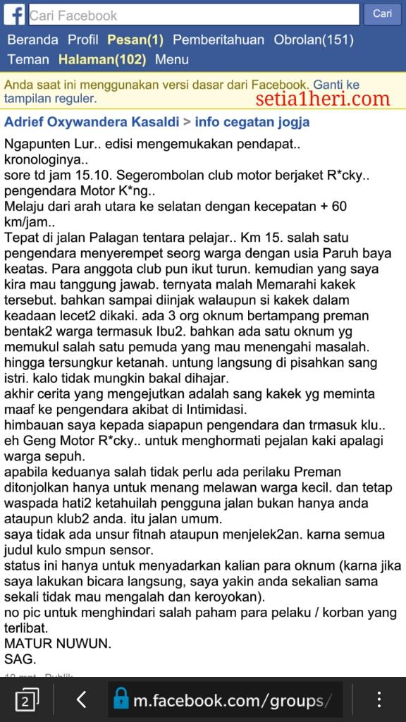 kronologi srempetan klub rx king Rocky Jogjakarta tanggal 24 Juli 2016