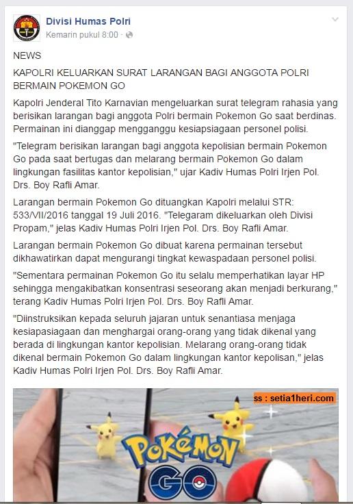 larangan main pokemon go di lingkungan kepolisian