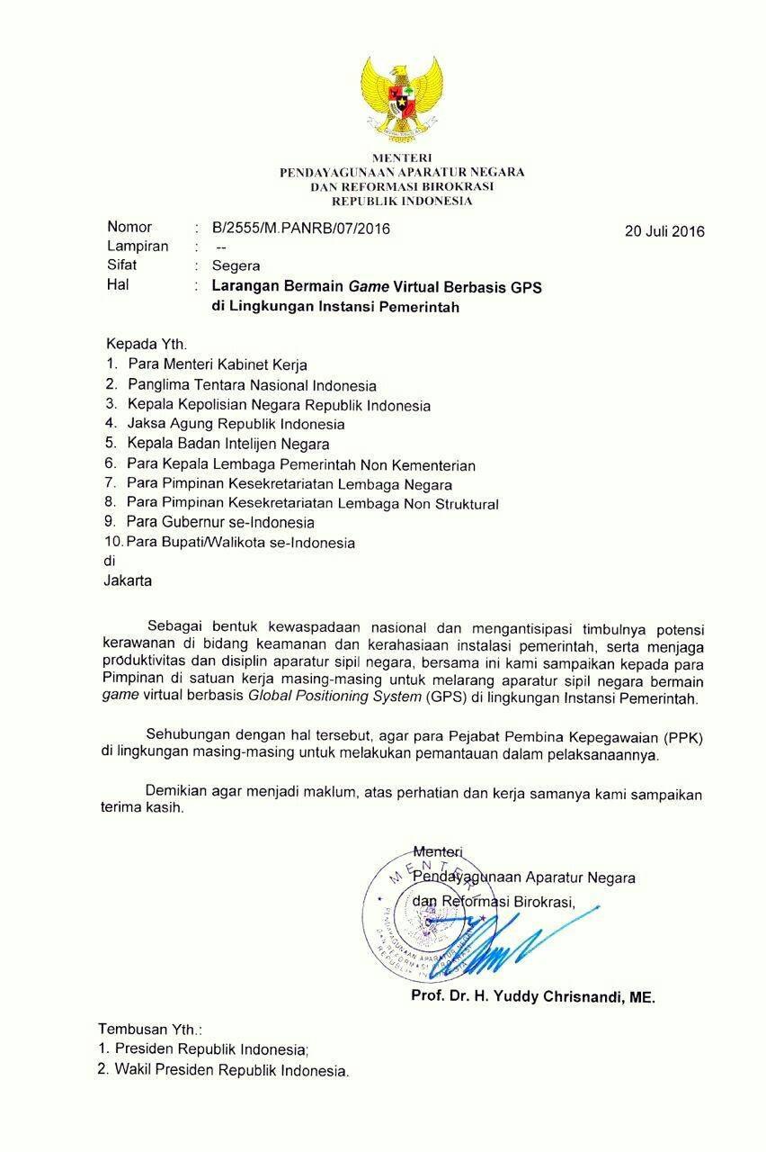 surat edaran Kementerian Pendayagunaan Aparatur Negara dan Reformasi Birokrasi larangan main pokemon go tahun 2016