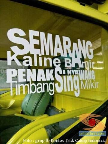 tulisan stiker inspiratif di kaca truk – setia1heri.com