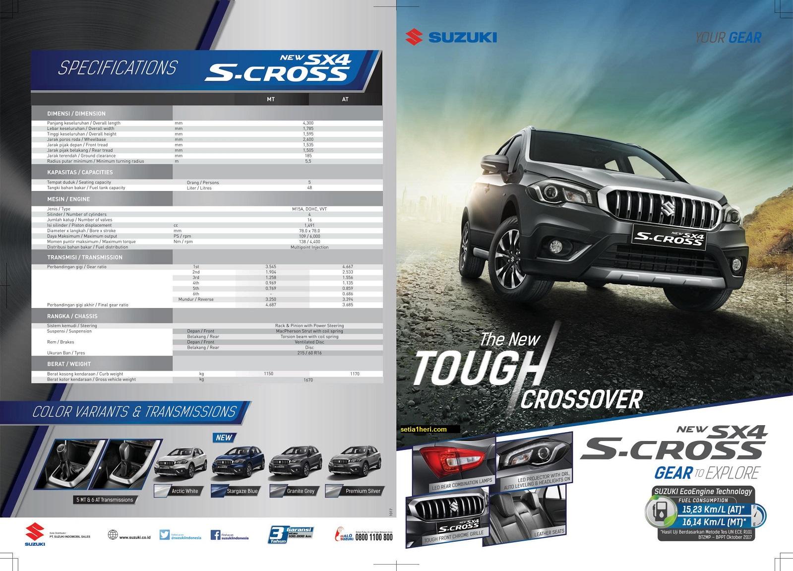 brosur Spesifikasi dan harga mobil Suzuki New SX4 S Cross